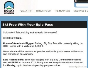 big sky epic offer